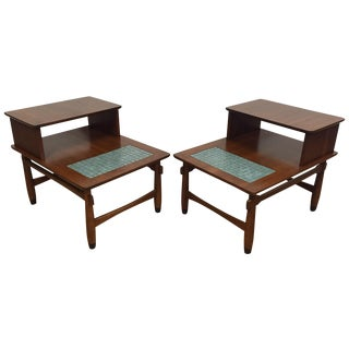 Lane Tile Top End Tables - Pair