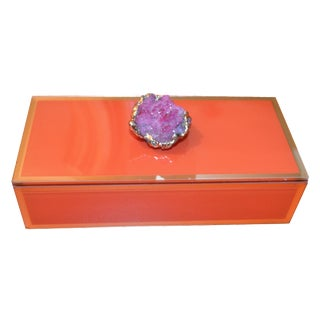 Orange Geode Glass Trinket Box