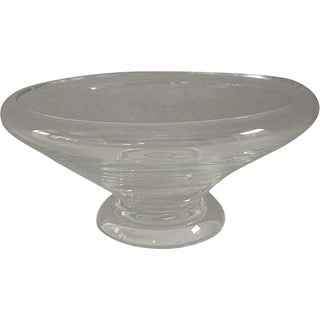 Large Steuben Pedestal Bowl With Rolled Rim