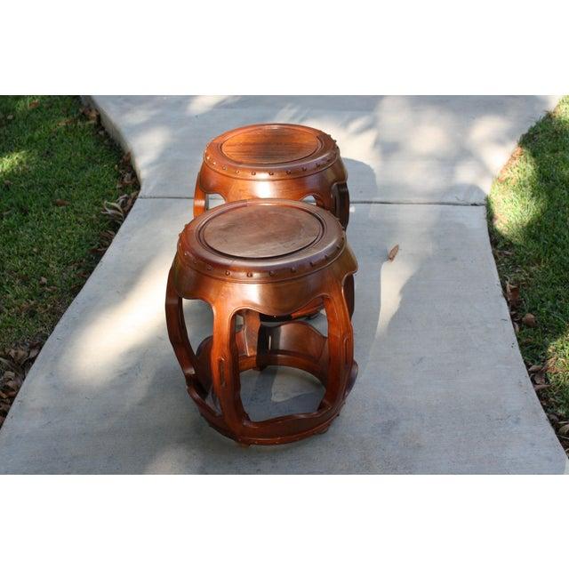 Vintage Asian Rosewood Drum Stools - A Pair - Image 5 of 11
