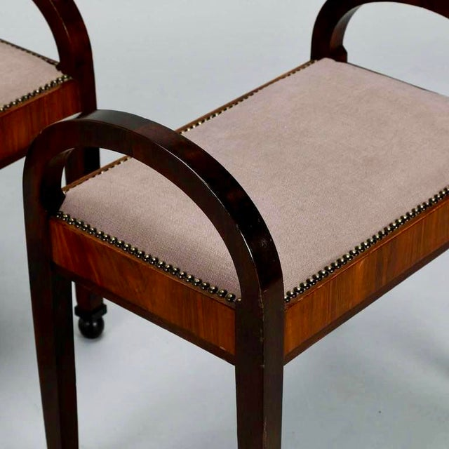 French Art Deco Upholstered Benches - A Pair - Image 3 of 10