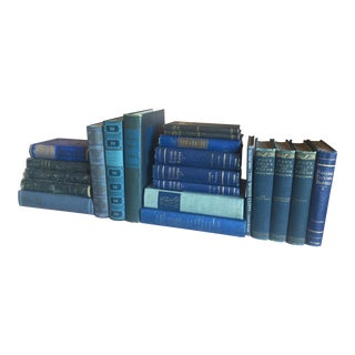 Collection of Blue Antique Books - Set of 21