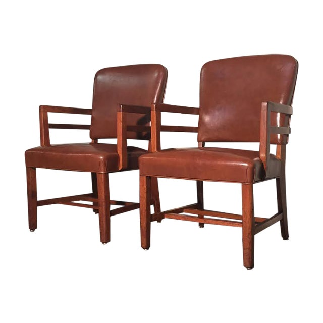 Mid-Century Office Chairs W/Nailhead Back - A Pair - Image 1 of 10