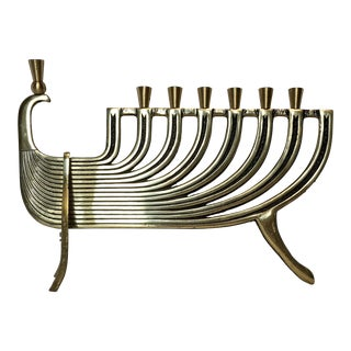 Vintage Brass Peacock Menorah