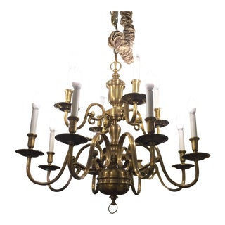 Ethan Allen Twelve-Light Brass Chandelier