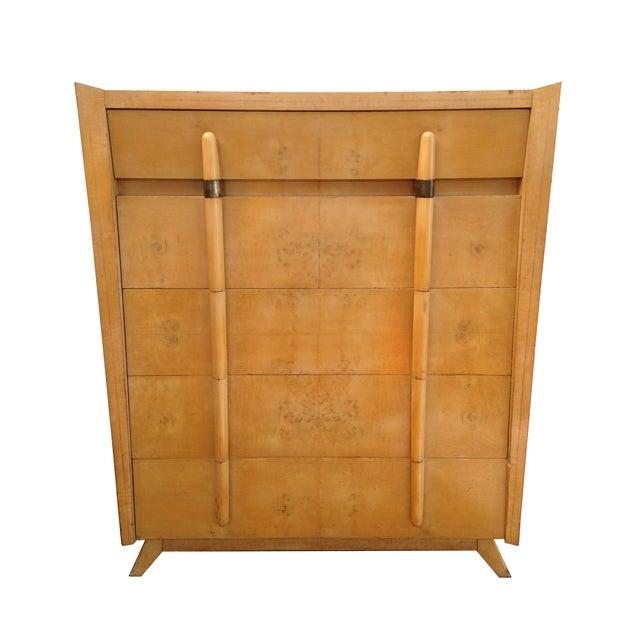 Mid Century Modern Burlwood Highboy Dresser - Image 1 of 5