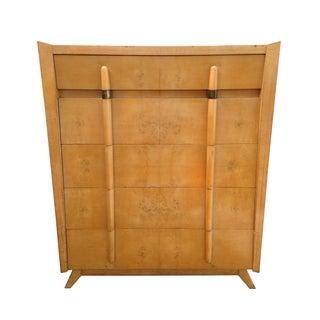 Mid Century Modern Burlwood Highboy Dresser