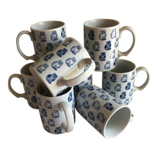 Vintage Blue & White Ceramic Cat Mugs - Set of 8