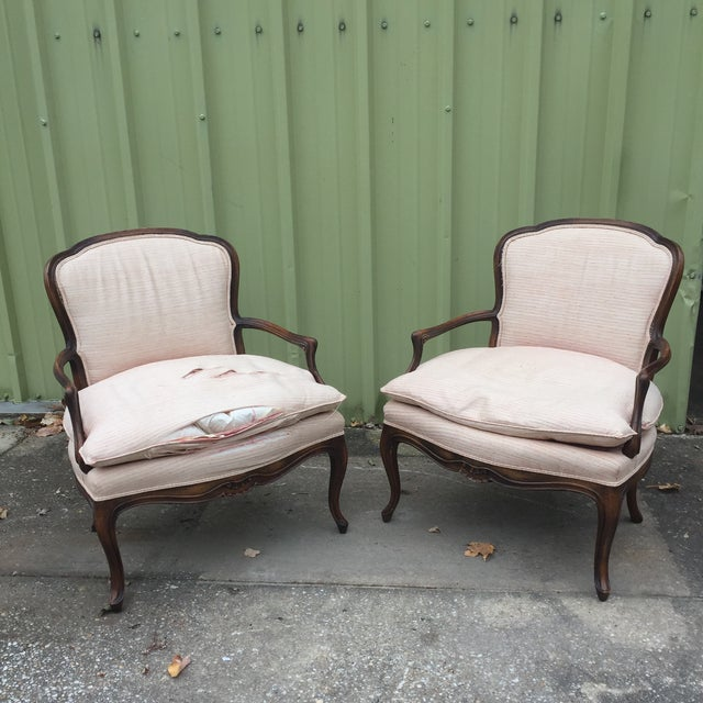 Louis XVI Fauteuil Bergere Chairs - a Pair - Image 11 of 11