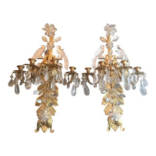 Mid-Century Modern Rock Crystal & Gilt Metal Sconces
