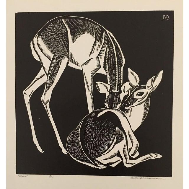 """""""Deer"""" Linocut by Belle Baranceanu - Image 1 of 2"""