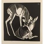 """Image of """"Deer"""" Linocut by Belle Baranceanu"""