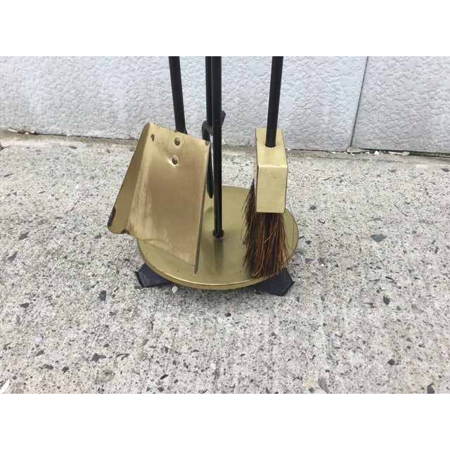 Image of 1960s Modernist Brass Fireplace Tools & Holder Set