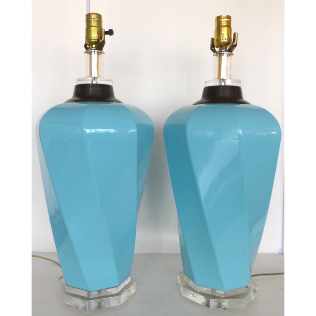 Bauer Lucite, Ceramic & Brass Table Lamps - Pair - Image 3 of 7