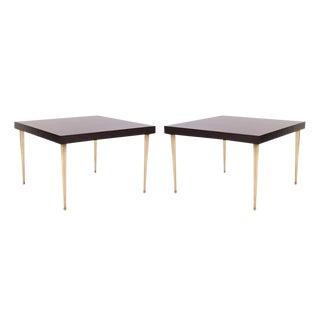 Allister Tables in Ebony Walnut and Turned Brass