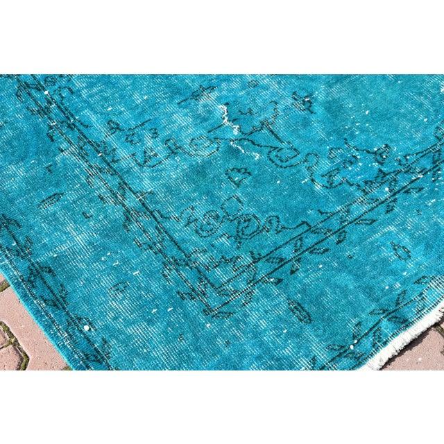 Turquoise Overdyed Vintage Oushak Rug - 6′8″ × 10′6″ - Image 5 of 6