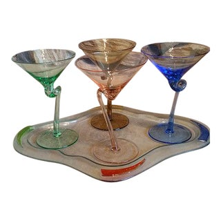 Multi-Colored Twisted Stem Martini Glasses With Tray- Set of 4