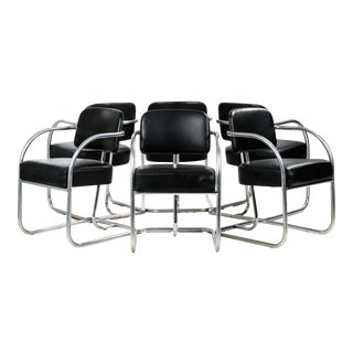 Kem Weber Chrome Cantilever Dining Chairs - 6