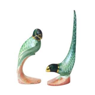 Vintage Painted Brass Parrots - a Pair