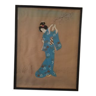 Antique Japanese Geisha Hand Painted Silk Painting