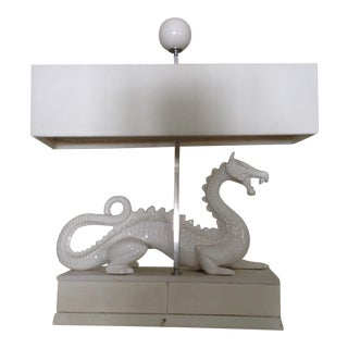 Mid-Century Porcelain Dragon Lamp