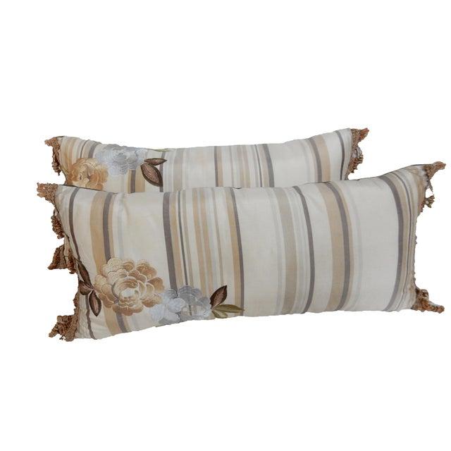 Custom Made Silk Lumbar Pillows - A Pair - Image 4 of 9