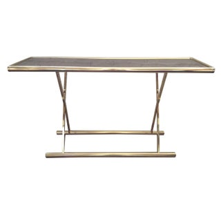 Brass & Smoked Glass Campaign Style Console Table