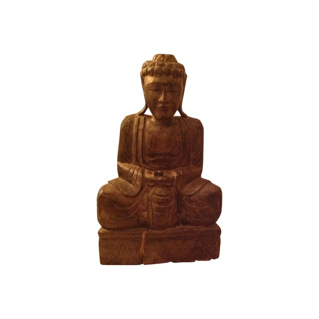 Antique Wooden Buddha - Image 1 of 3
