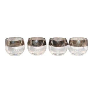 Vintage Dorothy Thorpe Silver Rimmed Roly Poly Punch Glasses - Set of 4