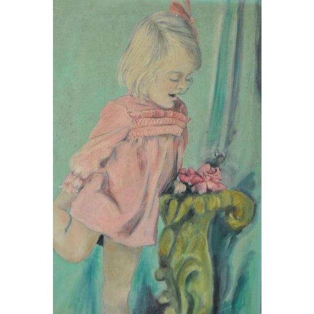 Vintage Oil Portrait of a Young Girl C.1960's - Image 3 of 7