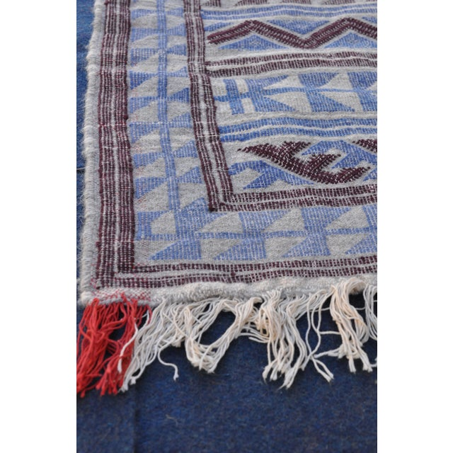 "Moroccan Flatweave Violet & Blue Rug - 4'10"" x 7' - Image 6 of 8"