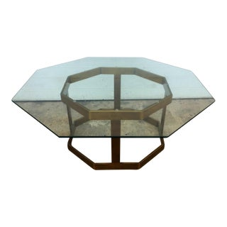 Milo Baughman Glass & Brass Octagonal Coffee Table