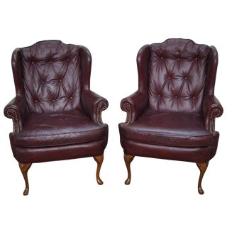 Queen Anne Style Oxblood Leather Tufted Chesterfield Wing Chairs- A Pair