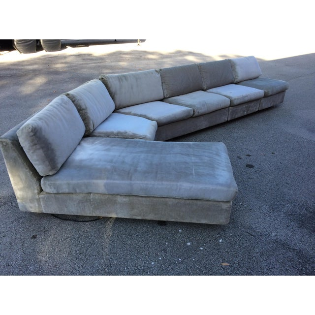 1960s Mid-Century Modern Curved Sectional Sofa Style of Harvey Probber - Image 4 of 11