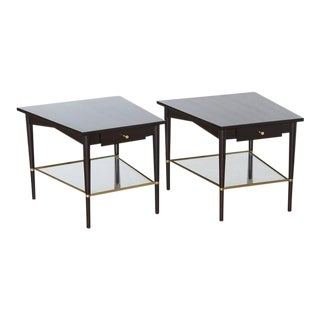 Pair of Paul McCobb Trapezoidal End Tables with Brass, Connoisseur Collection