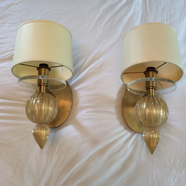 Image of Italian Gold Murano Sconces - Set of 4