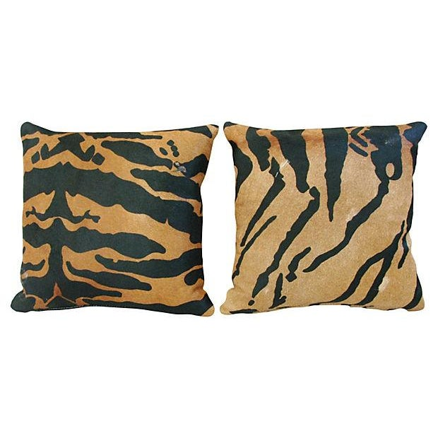 Image of Tiger Stripe Cowhide & Linen Pillows - A Pair