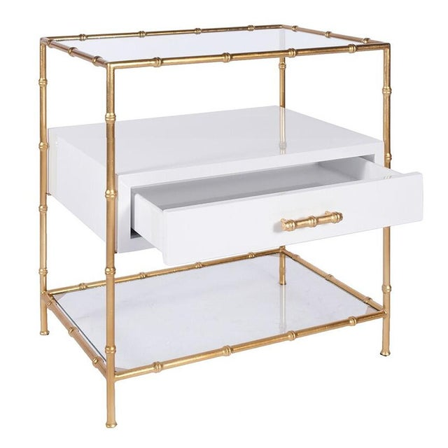 Worlds Away White Lacquer & Gold Leaf Bamboo Side Tables W/ Glass Shelves - a Pair - Image 2 of 3