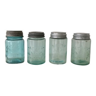 Aqua Blue Mason Jars - Set of 4