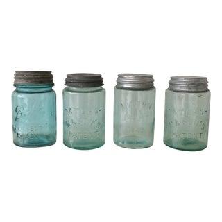 Aqua Blue Mason Jars - Set of 4