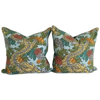 Robert Allen Ming Dragon Pillows - A Pair
