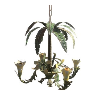 Vintage Tropical Tole Chandelier