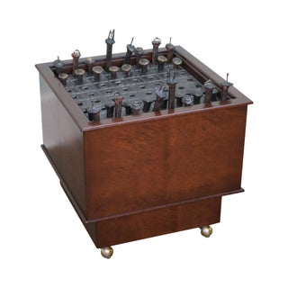 Studio Crafted Walnut & Welded Steel Iron Spike Chess Table