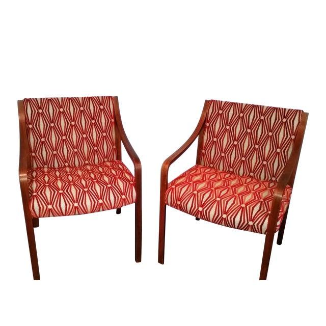 Stow Davis Velvet Geometric Chairs - A Pair - Image 1 of 8