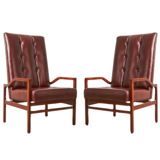 Danish Teak and Tufted Leather Armchairs, Circa 1960 - A Pair