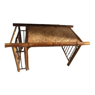 Vintage Bamboo Breakfast Tray With Magazine Rack