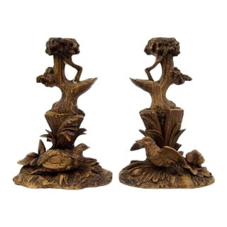Black Forest Carved Candlesticks - A Pair