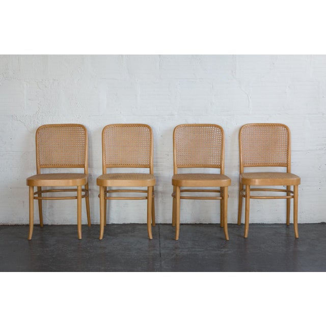 Image of Prauge Cane Bentwood Woven Side Chairs - Set of 4