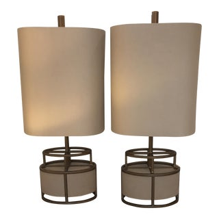 Shagreen & Brass Modern Lamps - A Pair