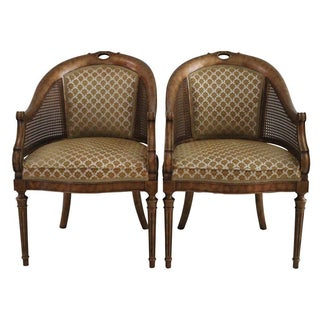 Caned Barrel Back Chairs - A Pair